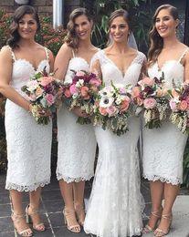 chic sheath wedding dresses 2019 - Chic Short Western Country Garden Wedding Bridesmaid Dresses 2019 Lace Tea Length Cocktail Dresses Spaghetti Straps Moth