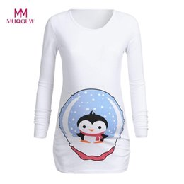 womens winter clothes NZ - Clothes Pregnancy Women's Maternity Long Sleeves Cartoon Penguin Tops Pregnancy T-shirt Clothes Womens Clothing Pergnancy