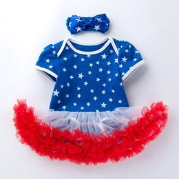 Chinese  Baby Tutu Dresses Girl Dress American Stars 4th of July Body Romper 2019 Summer Newborn Bodysuits Children Clothing manufacturers