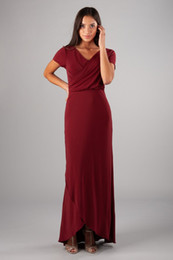 ivory bridesmaid wrap NZ - 2019 Dark Red Jersey Sheath Long Modest Bridesmaid Dresses With Cap Sleeves V Neck Wrap Women Formal Modest Evening Wedding Party Dress