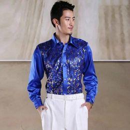 Men s Slim Long Sleeve Shirt Chorus Host Dance Performance Costume Stage  Performance Square Sequins Shirt 4524da91c198