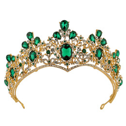 $enCountryForm.capitalKeyWord UK - Gold Green Crystal Tiaras Girls Head Pieces Crowns for Pageant Birthday Party Rhinestone Shiny Diamond Princess Crowns Kids Accessories