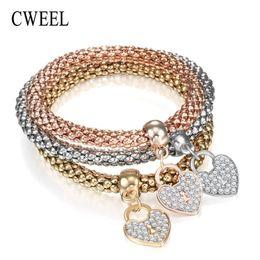 $enCountryForm.capitalKeyWord Australia - Wholesale- CWEEL Bracelets for Women Charms Heart Pendant Imitation Crystal Metal Bracelet Jewellery Rose Gold Silver Color Bead Bracelet