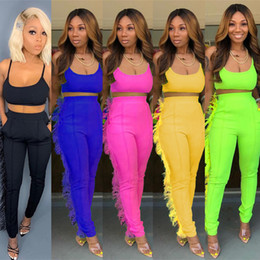 Wholesale tight yellow vest for sale - Group buy Women two Piece tracksuit Bra vest tassel leggings Pant Crop top Skinny trousers Party Nightclub Outfits streetwear Tight Sportswear clothes