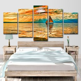 $enCountryForm.capitalKeyWord Australia - HD Printed 5 Piece Canvas Art Sky Clouds Sun Rays Lake Sailboat Painting Canvas Print Room Decor Print Free Shipping