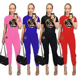 ce727d163a7f1 Women designer 2 piece pants sportswear sweatsuit crew neck short sleeve  tshirt Sequins bodycon leggings pants summer clothing plus size 353