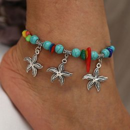 $enCountryForm.capitalKeyWord Australia - Sea Star Anklet Turquoise Blue Beaded Bracelets Anklets Natural Boho Design Summer Beach Hawaiian Party Gifts Silver Anklets Yoga Jewelry