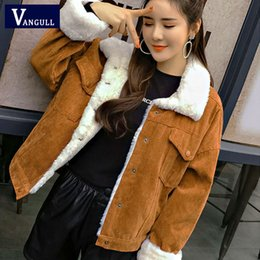 Wholesale cute bomber jackets for sale – winter VANGULL Women Winter Jacket Thick Fur Lined Coats Parkas Fashion Faux Fur Lining Corduroy Bomber Jackets Cute Outwear New T200111