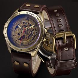 Skeleton Mechanische Uhr Automatische Uhr Männer Steampunk Bronze Transparent Herren Automatische Mechanische Armbanduhren Uhr Für Mann T7190617 im Angebot