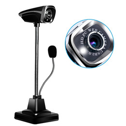 hot night video Australia - Hot sale USB 2.0 Wired Webcams PC Laptop 12 Million Pixel Video Camera Adjustable Angle HD LED Night Vision With Microphone free shipping