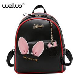 Cute Backpacks For Teenage Girls NZ - Women Cute Pu Leather Backpack Rabbit Ears Bag For Female Kawaii Bookbag Backpacks Teenage Girls School Solid Bags Mochila Xa733 Y19061102