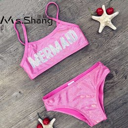 c0a9fa465d 3-8 Years Baby Girl Swimsuit Kids Letter Knitted Two Piece Children Swimwear  Bling Infant Girl Bikini Toddler Bathing Suits