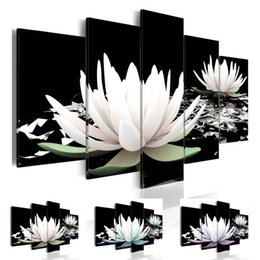 blue floral canvas wall art NZ - Fashion Wall Art Canvas Painting 5 Pieces Blue Green Purple Lotus Flower Modern Home Decoration,Choose Color And Size No Frame