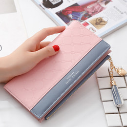 Pink cute wallet online shopping - Luxury Leather Wallet Women Card Holder Zipper Phone Pocket Cute Ladies Purse Long Money Bag Tassel Women Wallets Clutch W264