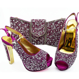 $enCountryForm.capitalKeyWord Australia - African Shoes and Bag Set for Women Heeled Sandals Party Wedding Office & Career Dress Matching Decorated With Colorful Crystal WENZHAN