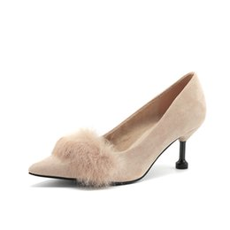 5f0a9593a0d Hairy High Heels 2018 Autumn New Suede Hair Ball High Heels Sexy Pointed  Single Shoes Ladies Cats Shoes
