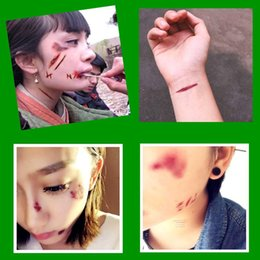 $enCountryForm.capitalKeyWord Australia - Best Sell 3D Decoration Halloween Zombie Scars Tattoos with Fake Scab Bloody Makeup Wound Scary Blood Injury Sticker Cosplay Costume