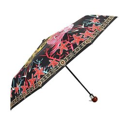 Umbrella Sun Shade Australia - New Automatic Compact Sun Umbrella 4 styles Tropical Flamingo Striped Summer Folding Umbrella Waterproof Anti-UV Protective Canopy Parasol