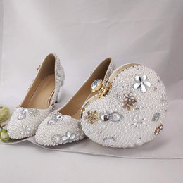 inch heels pumps Australia - 2 Inches Kitten Heel Wedding Bridal Shoes Round Toe Bridesmaid Shoes with Clutch White Pearl Beautiful Girl Adult Ceremony Pumps