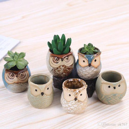 mini ceramic flower pots NZ - Cartoon Owl-shaped Flower Pot for Succulents Fleshy Plants Flowerpot Ceramic crafts Small Mini Home Garden Office Decoration
