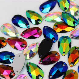 flatback teardrop rhinestones 2020 - 100pcs 10*18mm AB Color Teardrop Sew on Resin Rhinestones crystal Stones Flatback Sewing for Garment Bags DIY Decoration