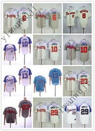 Wholesale Cheap BRAVES COX UECKER JONES JUSTICE SMOLTZ Gray cream White light BLUE Baseball Jerseys Shirt Stitched Top Quality