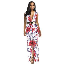 53f4a460994 Sexy Women Floral Plunge Maxi Dress Gold Belt Slit Front Sleeveless Summer  Dress 2019 Party Club Long Dress Female Red Vestidos