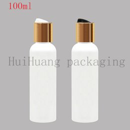 shampoo bottle gold Australia - 100X100ml empty Shampoo plastic bottle container gold disc cap hair conditioner 100cc refillable body lotion bottles Liquid Soap