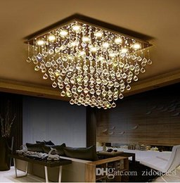Art deco bAthroom light fixtures online shopping - Modern Square K9 Crystal Raindrop Chandelier Lighting Flush Mount LED Ceiling Light Fixture for Dining Room Bathroom Bedroom Livingroom