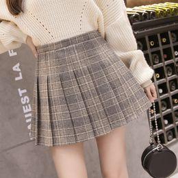 8b998aa557c62 Winter Pleated Skirt Women Short Plaid Striped Vintage Zipper Plus Size Sexy  Cute High Waist Tweed School A Line Fashion