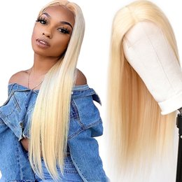 closure hairstyles Australia - 613 Blonde Human Hair Wigs 4x4 Closure Wig Lace Wig Blonde Human Hair Wigs 613 Honey Blonde Color Brazilian Straight Remy Hair