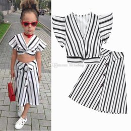 girls skirt top fashion 2019 - INS Baby girls outfits children Striped V-neck Flying sleeve top+skirts 2pcs set 2019 Summer fashion Boutique kids Cloth