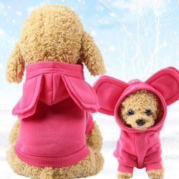 Cartoon Rabbit Hoodies Australia - Autumn Winter Rabbit Ears Cartoon Cats Sweater Pets Clothes Dog Hoodies Warm Coat Jumpsuit For Dogs Wholesale XS S M L XL XXL