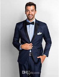 navy blue grey groom tuxedo Australia - 2020 Navy Blue Men Slim Fit Suits Groom Tuxedos Men Suit Prom Tuxedos For Wedding Suits With Pants Groom(Jacket+Pants+Tie)