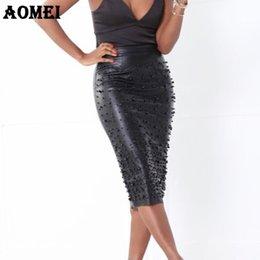 5a26116c0 Office Ladies Pu Pencil Skirt Sheath Split Tight Slim With Bead Wear To  Work Female Autumn Elegant Jupes Saia Falda Officewear J190411