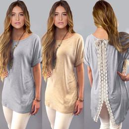 hottest design t shirt 2019 - Hot Sale Summer Ladies Womens Casual Shirt Plain Simple Design Short Sleeve Lace Back Loose T-Shirt Tees Slim Tops Plus