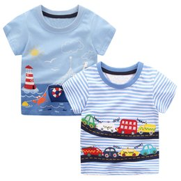 Red Striped T Shirt Wholesale NZ - 2pcs Baby Boys T Shirts Animal Pattern Kids T-shirts For Boys Clothes Children Short Sleeve Shirts Striped Boy Summer Tops Tees J190611