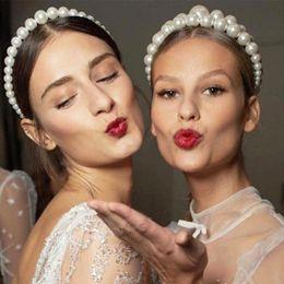 Ingrosso New Luxury Big Pearl Fascia per le donne selvaggia personalità Trend Fashion Hairband Party Pearl Girls Accessori per capelli