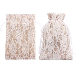 $enCountryForm.capitalKeyWord NZ - 8x10cm Natural Jute Gift Bags Burlap Rustic Drawstring Jewelry Pouches Wedding Christmas Packaging Bag Lace Decor Candy Holder