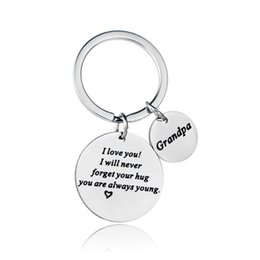 Wholesale 12PC I Love You I Will Never Forget Hug Stainless Steel Keyring Keychain For Grandpa Grandfather Grandpapa Heart Gift