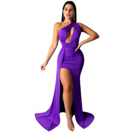 Discount casual purple one shoulder dress - Newest Graceful Women Purple Mermaid Party Dress Sexy High Split One Shoulder Hollow Out Bust Charming Lady Dresses Floo
