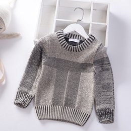 Baby Boy Winter Jumpers Australia - 2019 Autumn Winter College style Kids Boy Sweater Coat Solid Children Thick needle knitting Clothing Baby Boys Pullover 4-8Y