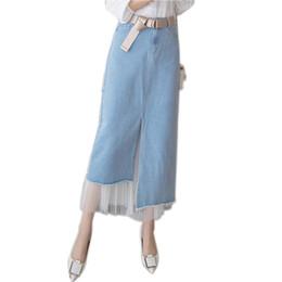 Chinese  Long Jeans Skirts For Women Denim Midi Skirt Cowboy Mesh Patchwork Irregular Split Casaul Skirt Belt 2529LY manufacturers