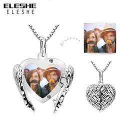Heart Necklaces Silver NZ - 2018 New 925 Sterling Silver Heart Pendant Necklace For Women Long Chain Necklaces Personalized Custom Photo Jewelry Gift Y19050802