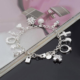 Sterling Silver Cross Charms Wholesale Australia - 925 sterling silver chains bracelets Key lock Cross Rings Star Moon Love Heart charm Lobster clasp bangle For women Fashion Jewelry