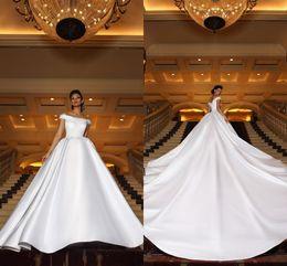 $enCountryForm.capitalKeyWord Australia - New Saudi Arabic Off Shoulder 2019 Wedding Dresses A Line White Satin Appliques Court Train Bridal Gowns