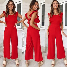 Red Formal Jumpsuits Australia - Nadafair Red Backless Sexy Jumpsuits Women Rompers Sleeveless Bow Tie Pockets Ruffles Casual Summer Jumpsuit Overalls Playsuit Y19051601