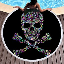 Round Skull NZ - Black skull head Series Round Towel With Tassels Microfiber Large Bath Towel For Woman Circle Swimming Beach Towels Launch Thick Picnic Yoga