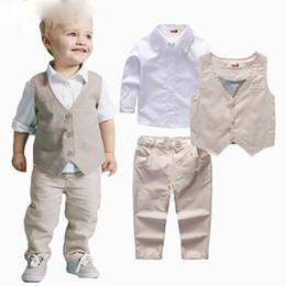 1231c07096226 2019 Boys Clothing Sets Autumn Spring Shirt + Vest + Pants Boys Wedding  Clothes Kids Gentleman Leisure Handsome Suit