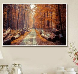 $enCountryForm.capitalKeyWord Australia - 5D DIY Autumn Forest Brown Woods Landscape Painting Full of Diamond Painting Cross Stitch Kits Over Drilling Home Decoration